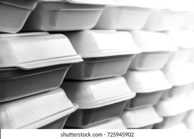 Pattern background of stacks of foam boxes, environmental problem concept,black and white picture,Monochrome.