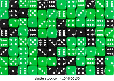 Pattern background with two-third random ordered green dices and one-third black dices