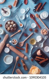 Pattern with baking tools and ingredients on a textured concrete background. Cooking utensils flat lay in nordic style. Modern kitchen concept