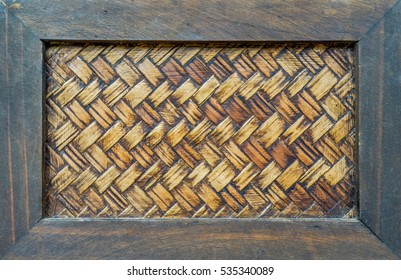 pattern of bamboo cross weave wood background frame