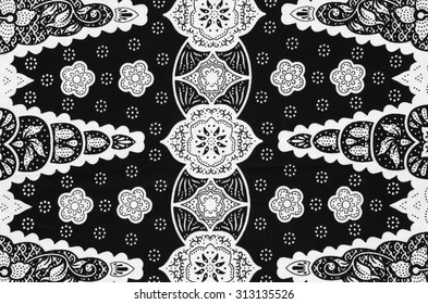 Pattern of beautiful Asean traditional batik in black and white.
