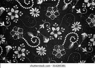 Pattern of beautiful South East Asean traditional batik in black and white