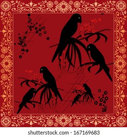 Pattern with black parrots on red background