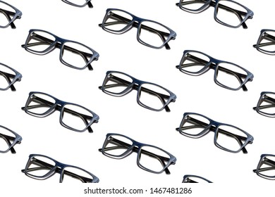 Pattern of blue glasses on a white background with shadow