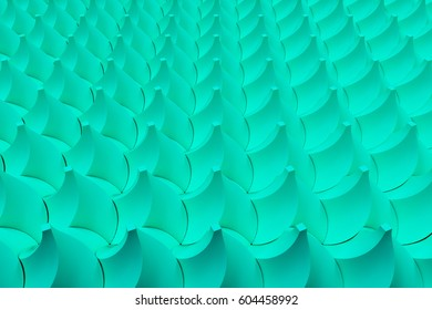 Pattern of blue twisted pyramid shapes. Abstract background. 3D rendering illustration.