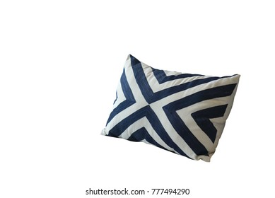 Pattern blue and white stripes throw cushion isolated with white background