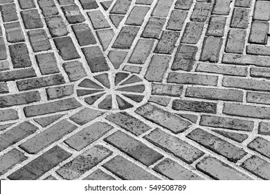 Pattern in brick in black and white