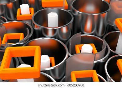 Pattern of brushed metal tubes, white hexagons, repeated square elements and blurred glass surfaces. Abstract background. 3D rendering illustration.