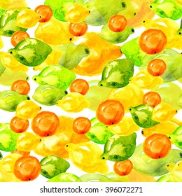 Pattern of citrus, lemon, lime, orange, tangerine, watercolor