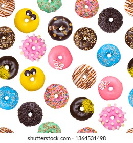 pattern of color glazed donuts on white background