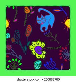 Pattern of colored floral motifs, cat, sun, spirals, frame  on a dark pink    background. Hand drawn.
