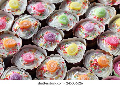 pattern of colorful cupcakes