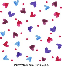 Pattern with colorful hearts. Background with abstract pattern. Romantic background.