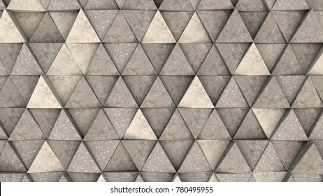 Pattern of concrete triangle prisms. Wall of prisms. Abstract 3d background. 3D rendering illustration.