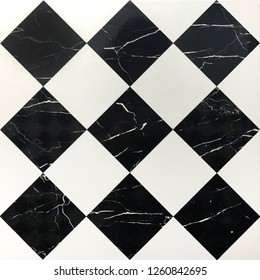 pattern of connecting square black and white marble texture background, printing marble pattern on white background for surface decoration, template of mosaic trapezoid shape
