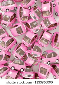 pattern consisting of round pink car. 3d illustration