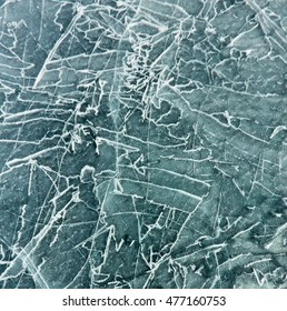 The pattern of cracks on blue ice of Lake Baikal