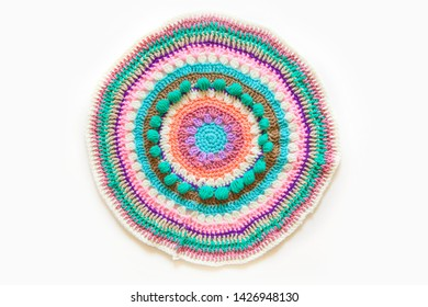 Pattern, crocheted ornament. Round knitted napkin.