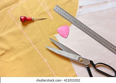 Pattern cutting tailoring background.