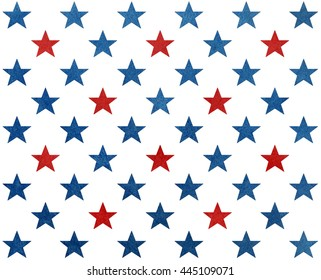 Pattern with dark blue and red watercolor stars. USA flag colors pattern. Modern watercolor ornament for wrapping paper.