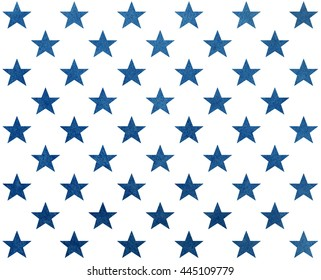 Pattern with dark blue watercolor stars. USA flag colors pattern. Modern watercolor ornament for wrapping paper.