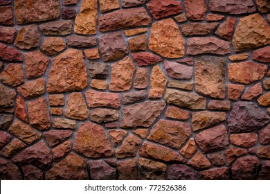 Pattern of decorative stone wall background.Stone wall texture. random size stone wall.Background of stone wall, concrete connection.