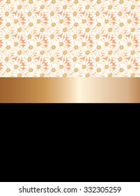 Pattern design of white daisies and golden ribbon.