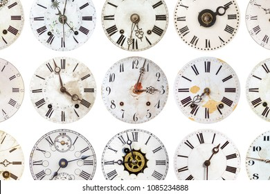 Pattern of different antique weathered clocks isolated on a white background