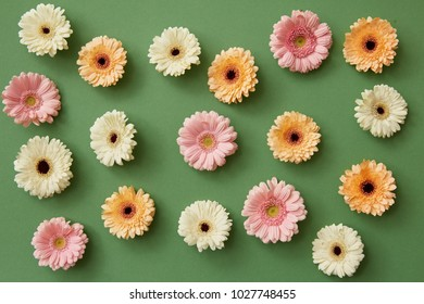pattern from different gerbera flowers on a green background.