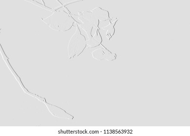 Pattern of embossed leaves on background grey