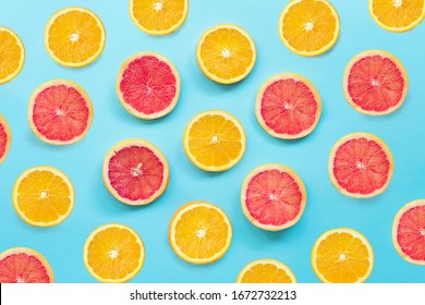 Pattern of exotic fruits on bright background colors