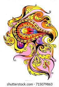 Pattern of fire,Thai pattern for decoration,card or tattoo design.Hand draw by pen and pencil colors.