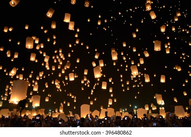Pattern of floating lantern at Yi Peng festival Chiangmai Thailand