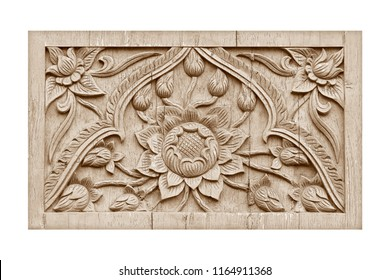 Pattern of flower carved on wood texture background
