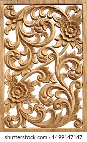 Pattern of flower carved on wood in frame. isolated on white background.