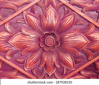 Pattern Of Flower Carved On Wood Background Hand Made In Asia