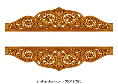 Pattern of flower carved on wood for decoration isolated on white background
