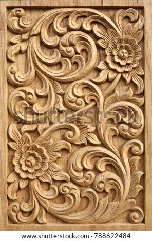 Pattern flower carved on wood background stock photo edit now
