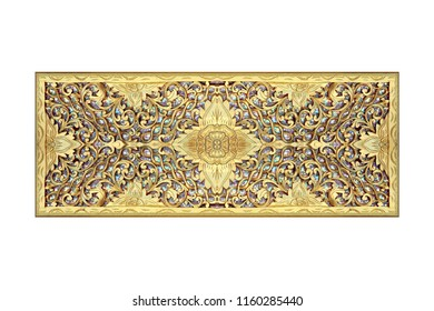 Pattern of flower carved wooden isolated on white background