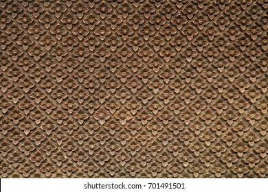 Pattern of flowers carved on wood,Thai style