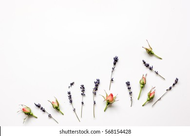 pattern of flowers on white background top view mock up