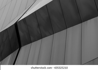 pattern of futuristic perspective of the shape in dark light (black and white picture)