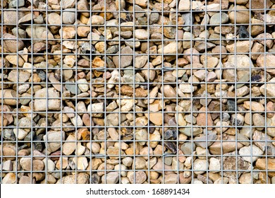 Pattern of Gabion wire with many rocks inside
