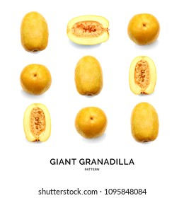 pattern with giant granadilla. Fruits abstract background. Giant granadilla on the white background.