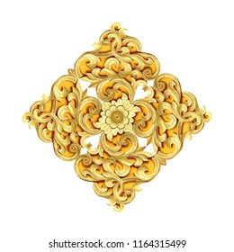 Pattern of gold flower carved on wood isolated on white background