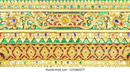 Pattern gold paint in the temple background of thailand