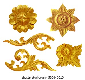 Pattern of gold wood frame carved flower. Old antique gold frame walls culture vintage. Traditional Thai style pattern decorative isolated on white background with the clipping path. Selection path.
