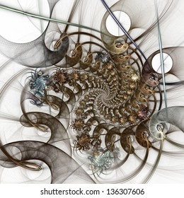 The pattern of the grid and bunches of spirals. Computer generated graphics.