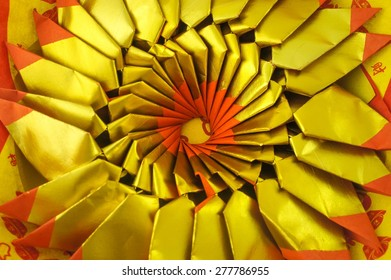Pattern of Joss Paper, Chinese Tradition for Passed Away Ancestor's spirits, Selective focus