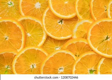 Pattern of juicy ripe oranges. Fruit minimal concept. Flat lay.